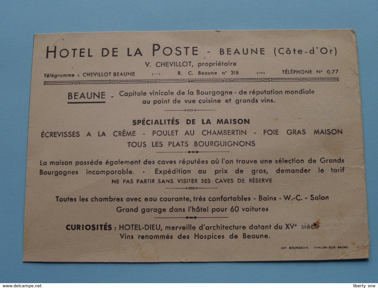 Hôtel DE LA POSTE ( Prop. V. Chevillot ) Tél 0.77 BEAUNE (Cote-D'Or) VIEUX Dépliant ( Detail > Voir Photo Svp ) - Publicidad