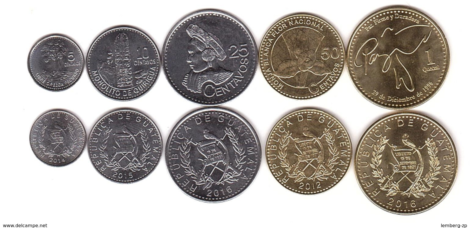 Guatemala - Set 5 Coins 5 10 25 50 Centavos 1 Quetzal 2012 - 2016 UNC Lemberg-Zp - Guatemala