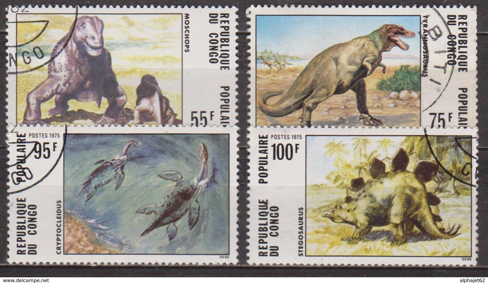 Animaux Préhistoriques - Dinosaures - CONGO - Moshops, Tyrannosaure, Cryptoclédus, Stégosaure - N° 401 à 404 - 1975 - Congo - Brazzaville
