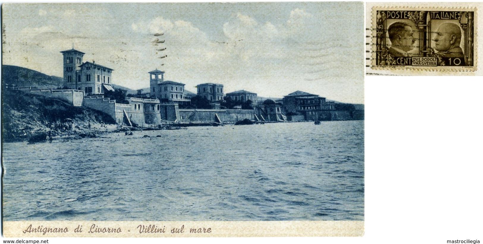 STORIA POSTALE  Propaganda  Due Popoli Una Guerra 10 C. Cartolina Di Antignano Livorno - Storia Postale