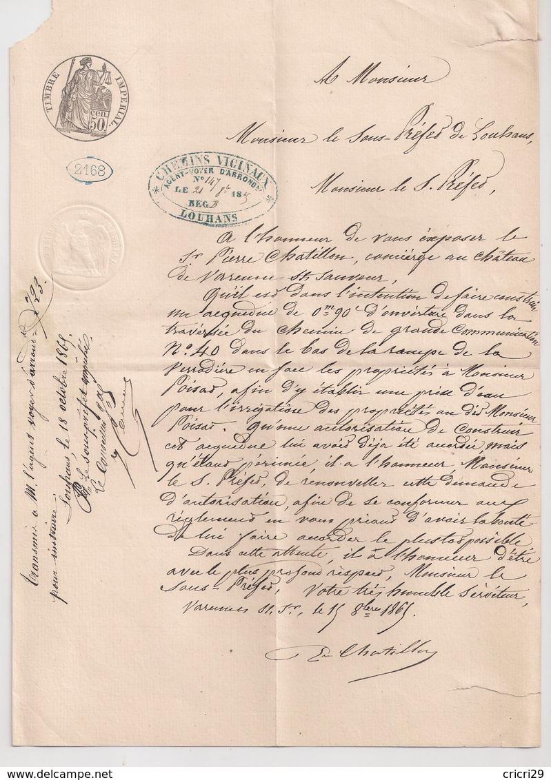 """CUISEAUX  : Lettre De 1865 : Type 15 + Boite Rurale E """" Varennes St Sauveur """"  ( Identifiée ) : Saône Et Loire - Poststempel (Briefe)"""