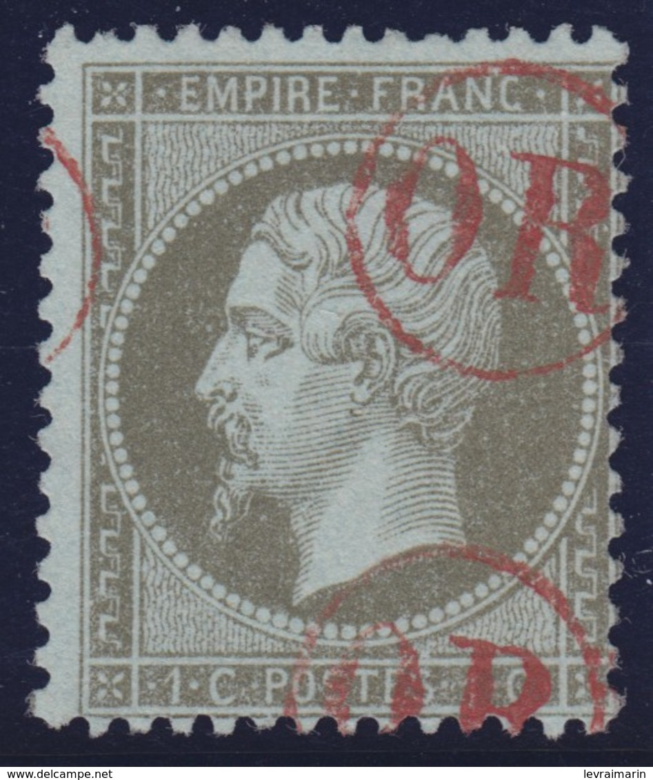 N°19 Oblitéré OR En Rouge, RRRRRRR Et TB - 1862 Napoleon III