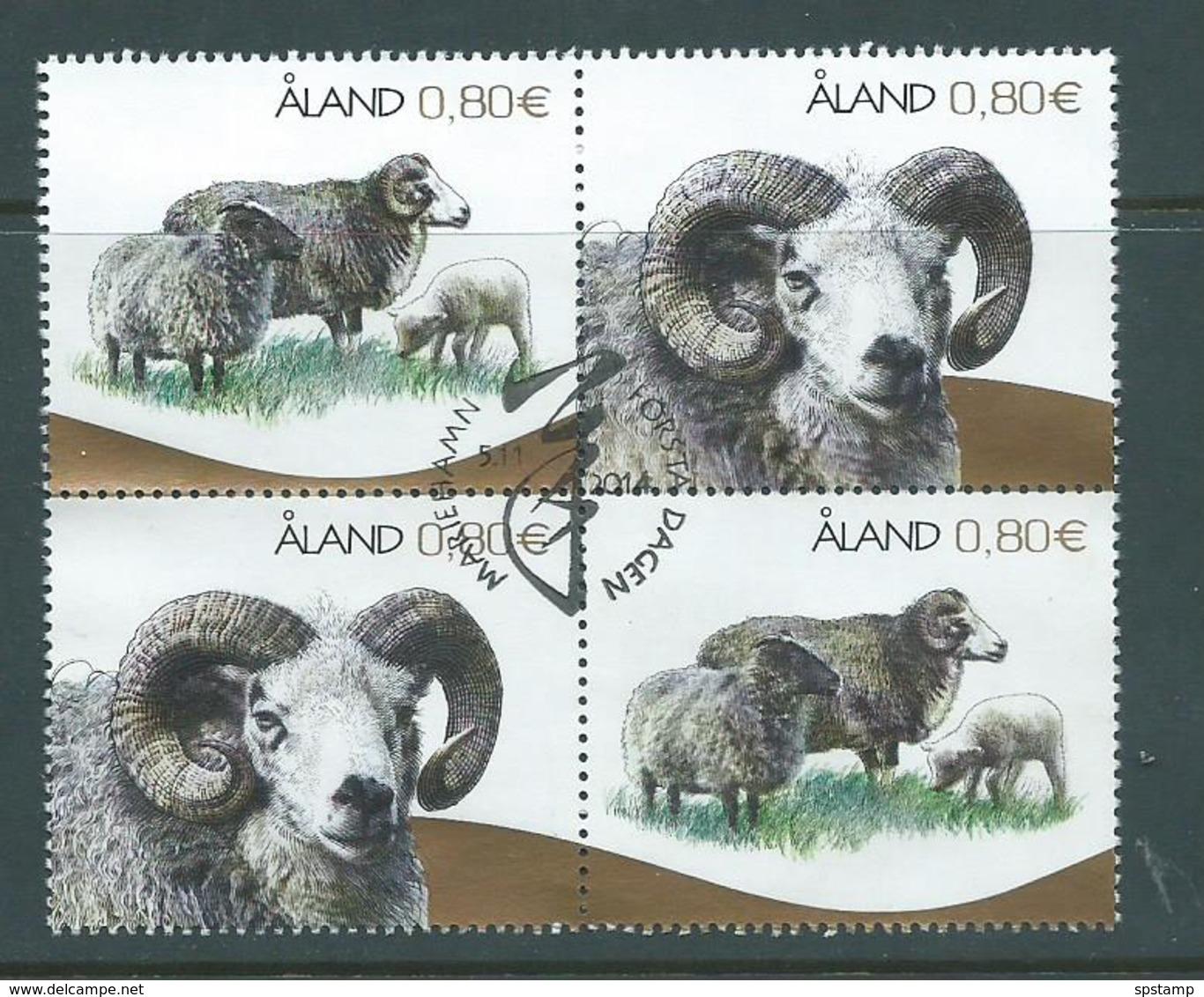 Aland 2014 Local Sheep Block Of 4 VFU - Aland