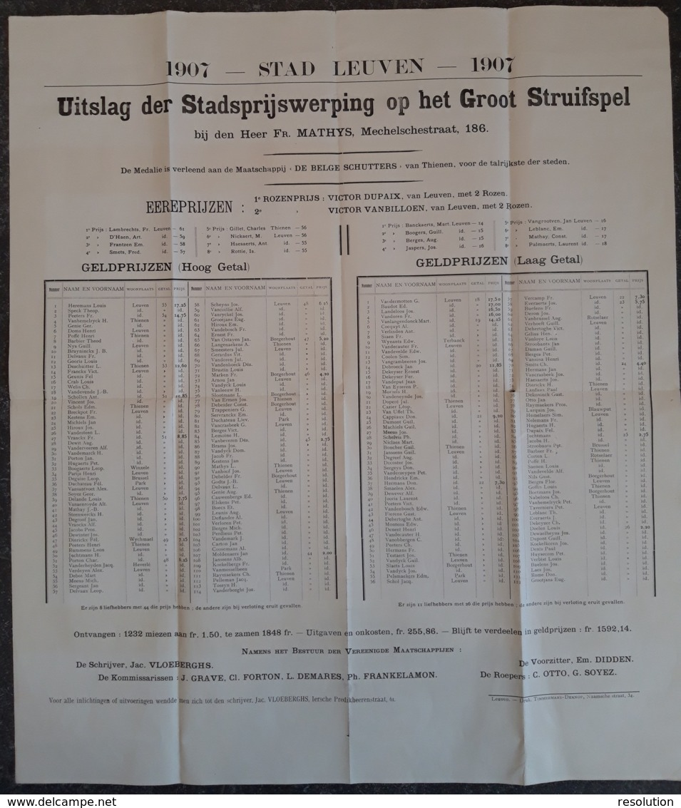 Affiche - Uitslag Der Stadsprijswerping Op Het Groot Struifspel - 1907 Leuven / Résultats Du Tirage Au Sort Du Prix De L - Affiches