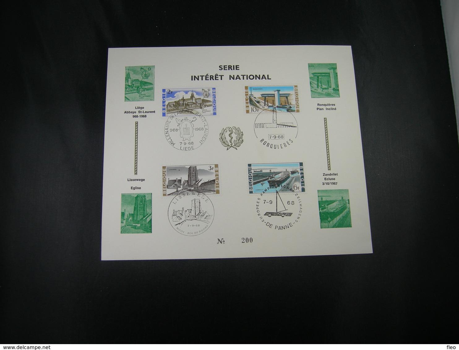 """BELG.1968 1466-1467-1468 & 1469 Serie FDC Fhilacard N°200  : """" Intérêt National / Nationaal Belang  """" - FDC"""