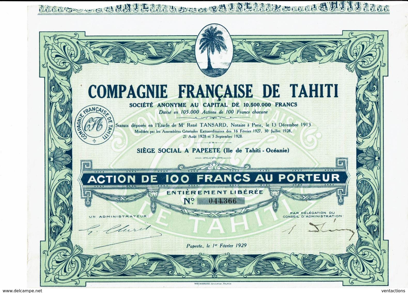TAHITI-FRANCAISE DE TAHITI. CIE ... PAPEETE. Action 1929 - Shareholdings