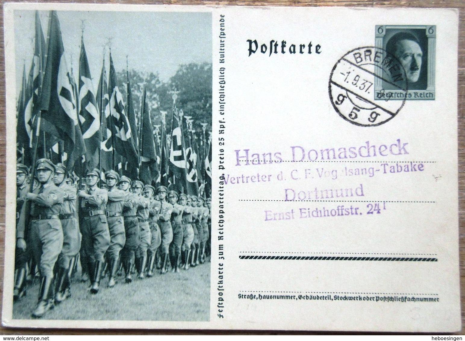 DR Ganzsache 6 Pfg. Hitler Bild Fahnenabteilung Gelaufen Stempel Bremen - Ganzsachen