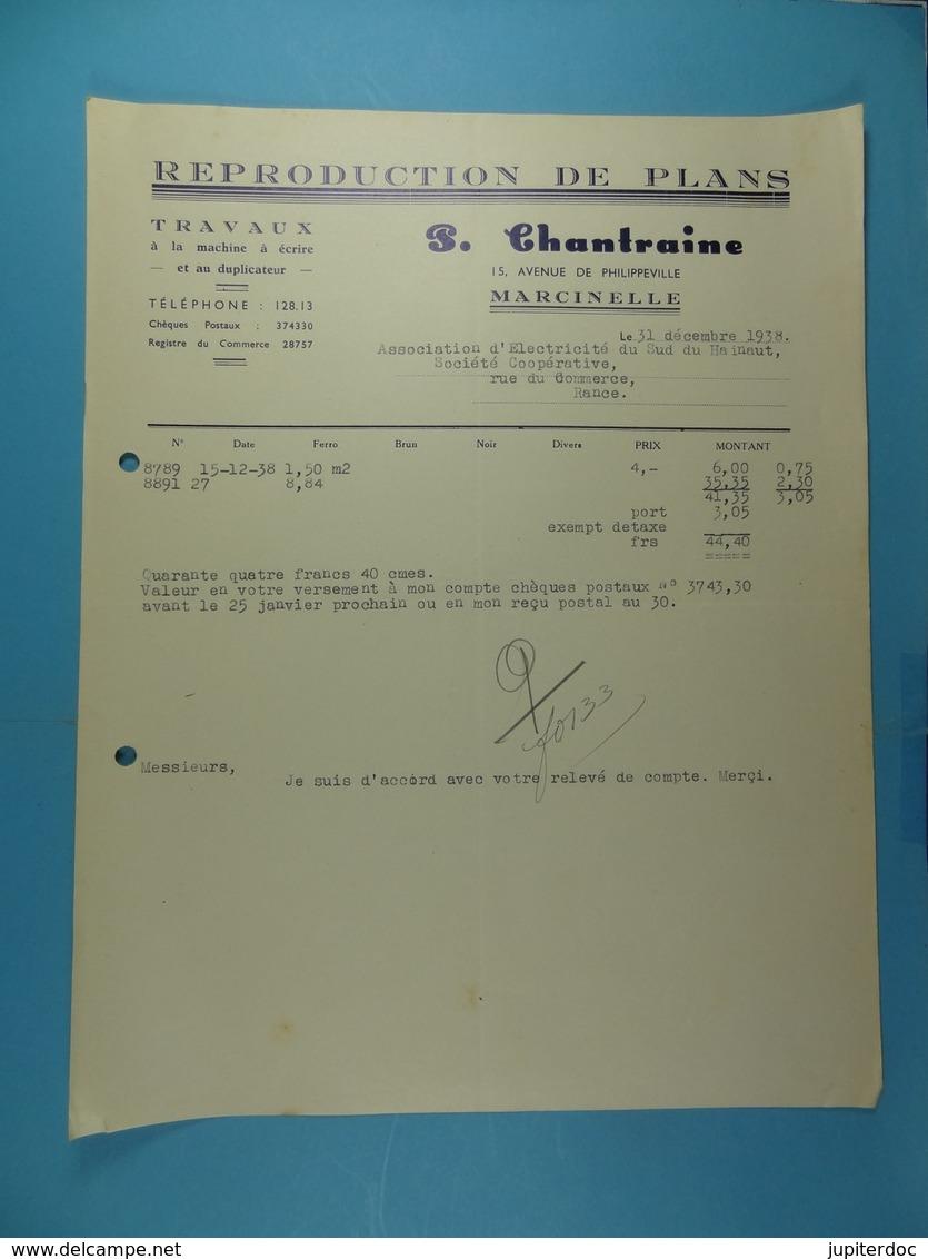 Reproduction De Plans P.Chantraine Marcinelle /26/ - Imprimerie & Papeterie