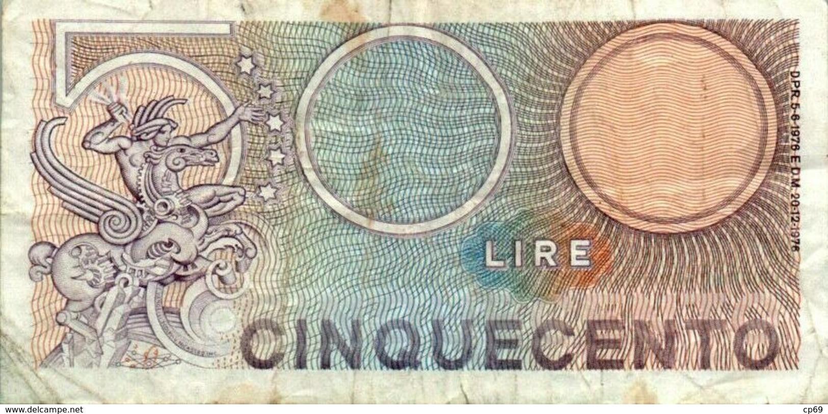 Billet De Banque Italien Italie 500 Lire Cinquecento T18 341903 20/12/1976 En B.Etat - 500 Lire