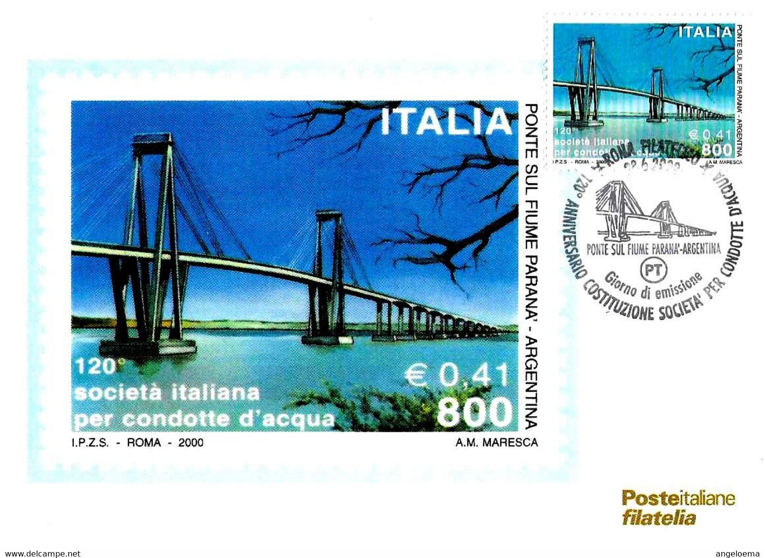 ITALIA - 2000 ROMA  120° Società Per Condotte D'acqua (ponte Sul Fiume Paranà, Argentina) Ann. Fdc Su Cartolina PT - 243 - Ponti