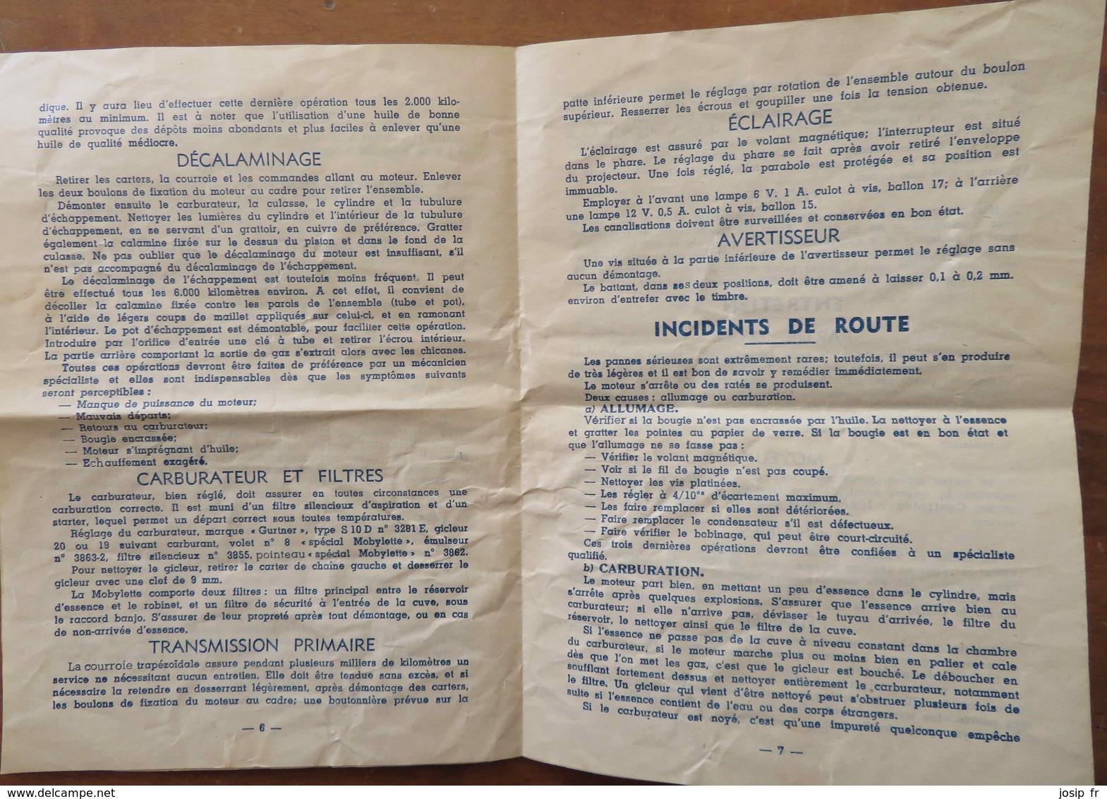 LA MOBYLETTE De MOTOBÉCANE- NOTICE D 'ENTRETIEN ET DE GRAISSAGE- Moteur 2 Temps 49cm3 - Motos