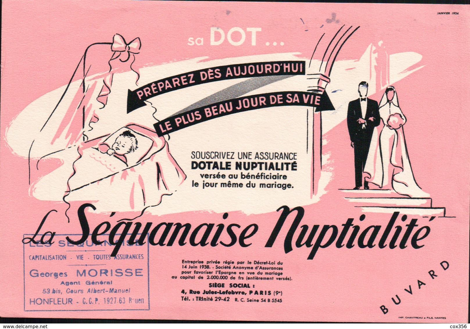 Ancien BUVARD Illustré ASSURANCE DOTALE NUPTIALITE , Tampon GEORGES MORISSE à HONFLEUR - A
