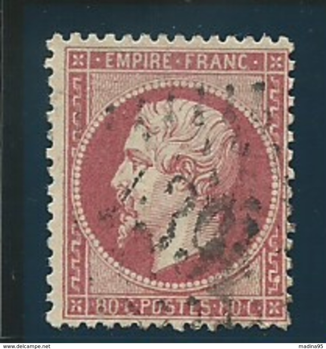 FRANCE: Obl., N° YT 24a, Rose Foncé, TB - 1862 Napoleon III
