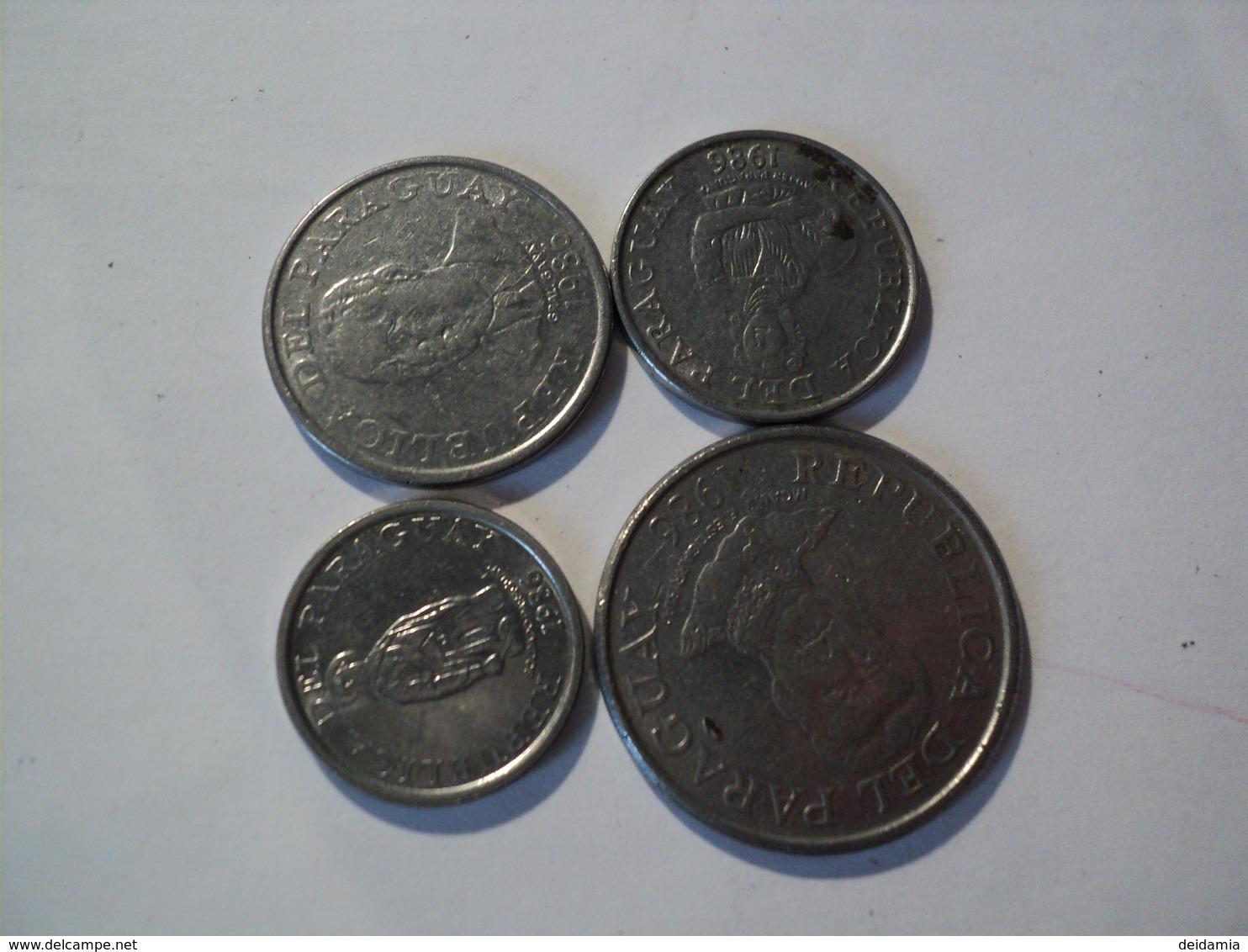PARAGUAY. LOT DE 4 PIECES DE MONNAIE DIFFERENTES. 1986. ACIER. 1 / 5 / 10 ET 50 GUARANIES - Paraguay