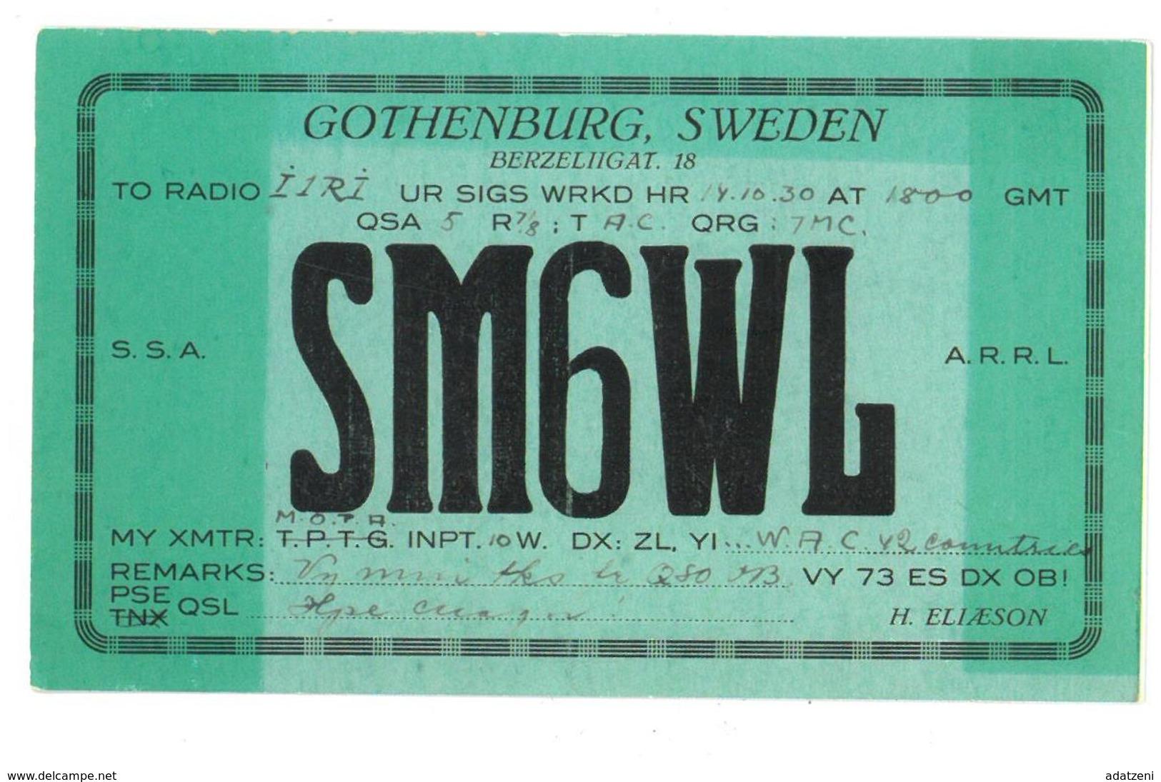 Pubblicità Cartolina Stazione CB Gothenburg, Sweden SM6WL To Radio I1RI Ur Sigs WRKD HR 14.10.30 Condizioni Come Da Scan - CB