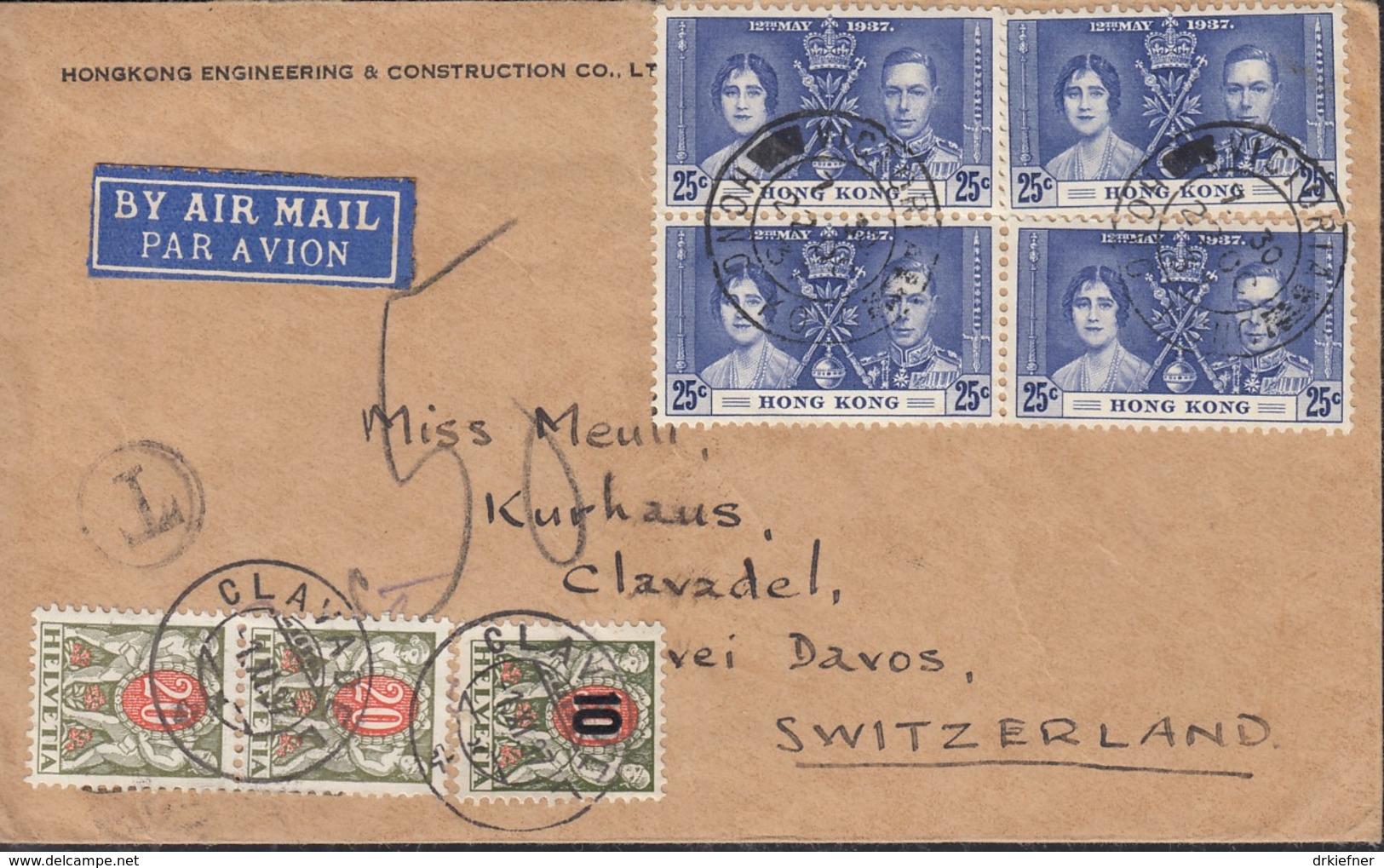SCHWEIZ Porto 2x 45 X, 51 Auf Luftpostbrief Mit Hongkong 4x 138, Krönung Von König Georg VI., St: Victoria 22.OCT 1937 - Portomarken