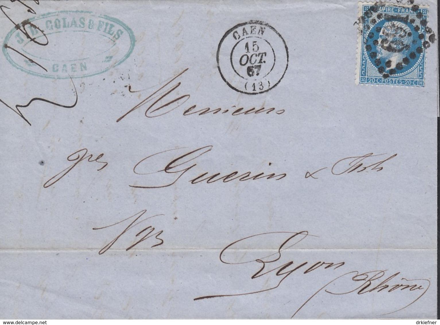 FRANKREICH 21 A EF Auf Faltbrief Der Fa. J.Bte. Colas & Fils Mit Rautenstempel 691 Und Stempel K2: Caen 15.OCT.1867 - 1862 Napoleon III