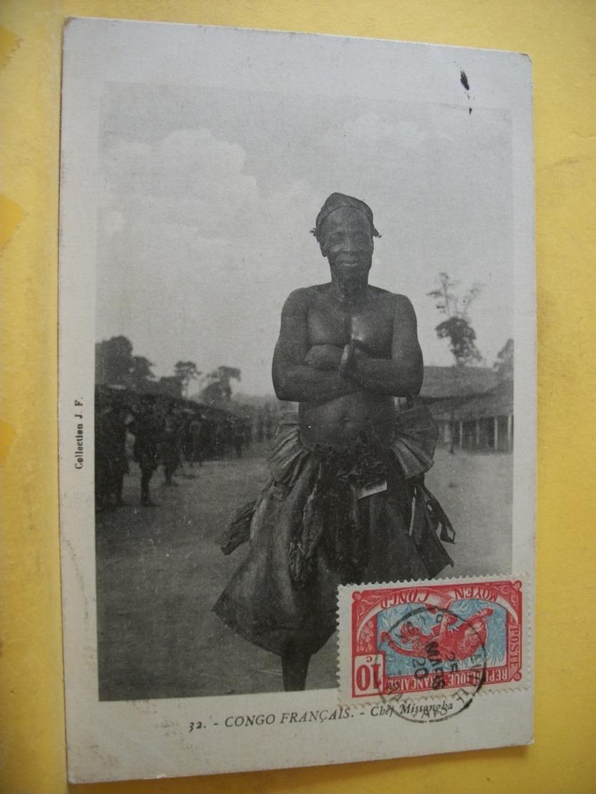 L13 348 RARE CPA 1920 - CONGO FRANCAIS. CHEF MISSANGHA - TRES GROS PLAN. TRES BEAU TIMBRE - Congo Français - Autres