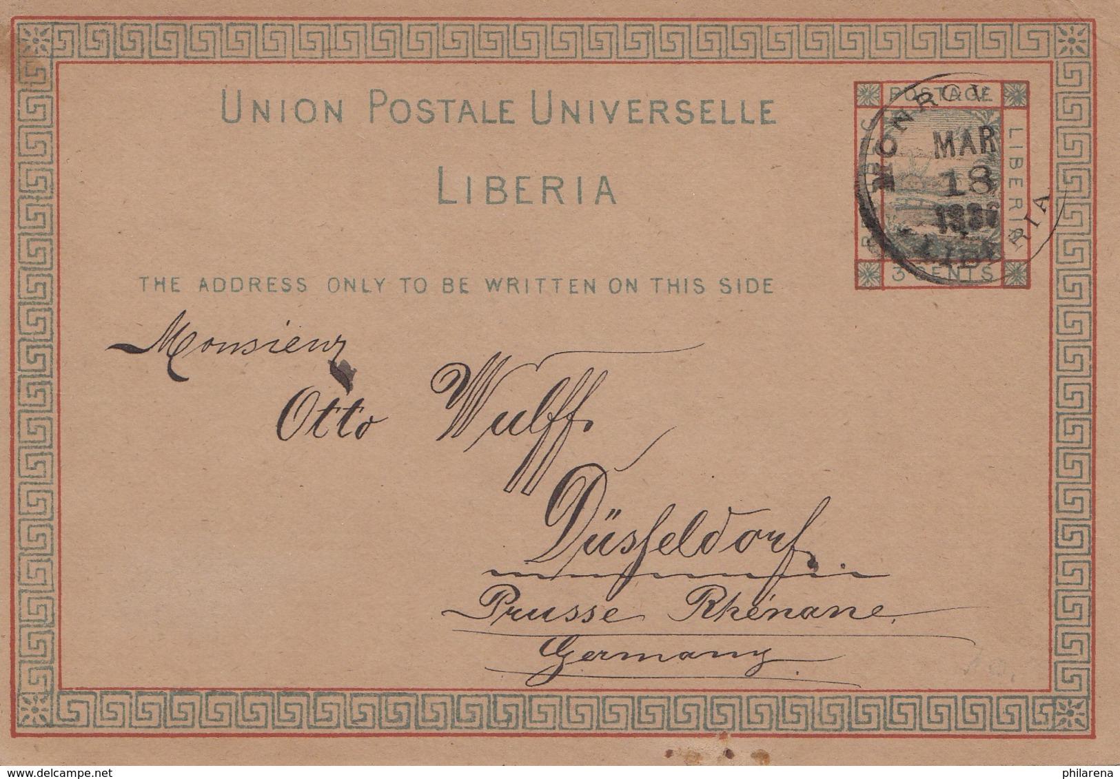 Liberia: 1936: Monrovia To Düsseldorf, Post Card - Liberia