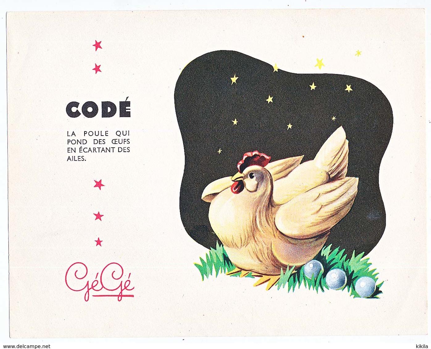 Buvard 21 X 16.4 Les Jouets GEGE   CODE La Poule Qui Pond Des œufs En écartant Les Ailes - Enfants