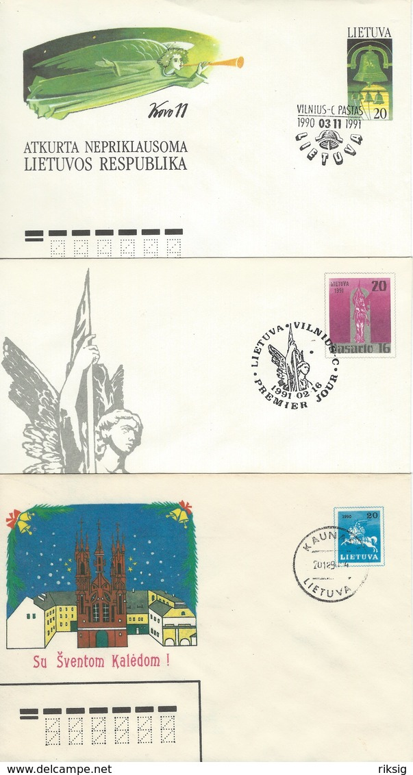 Lithuania 3 Covers. Postal Stationeries.  H-1042 - Lithuania