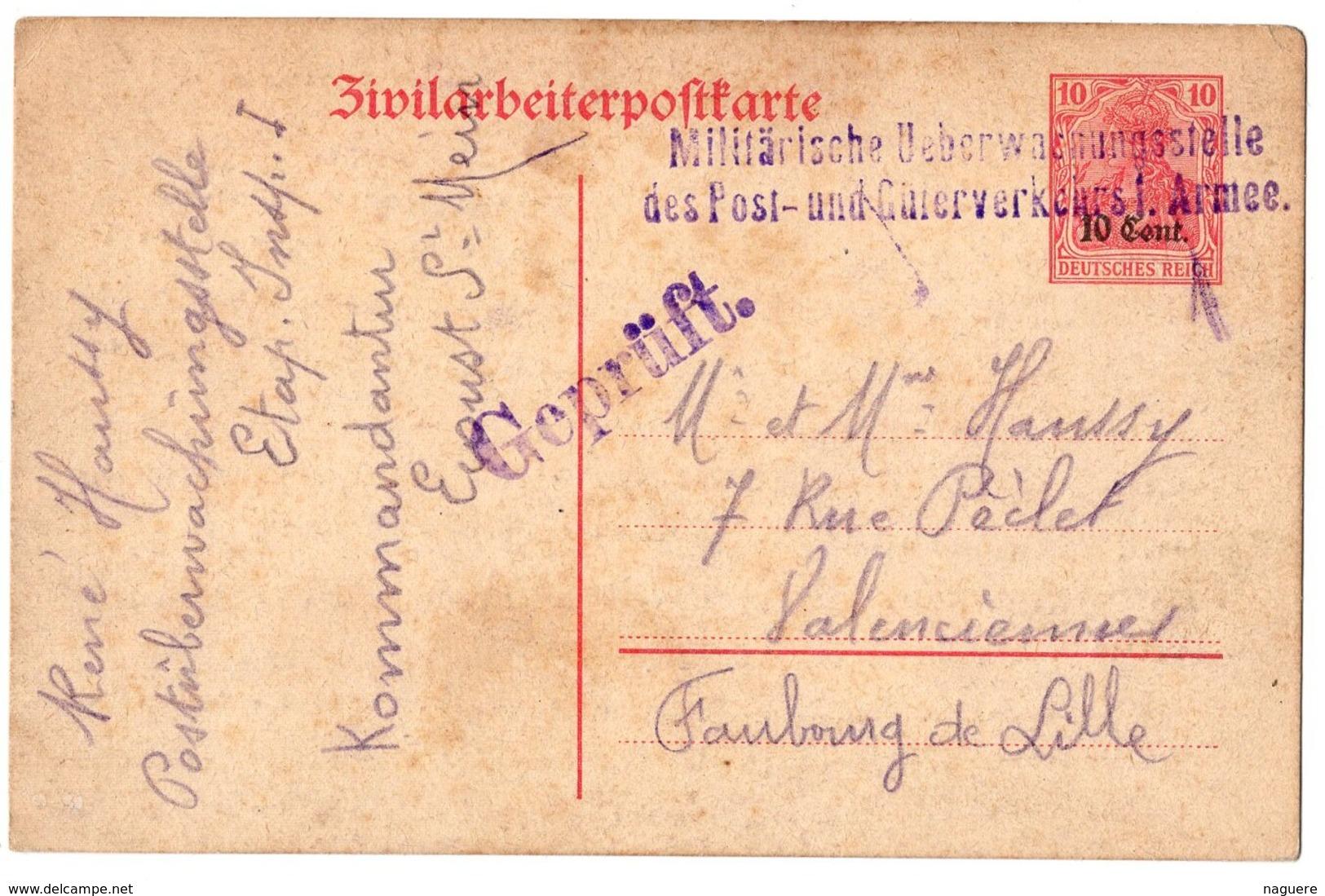 ENTIER POSTAL  CARTE DE PRISONNIER EN ALLEMAGNE 1916  CACHETS - Guerres