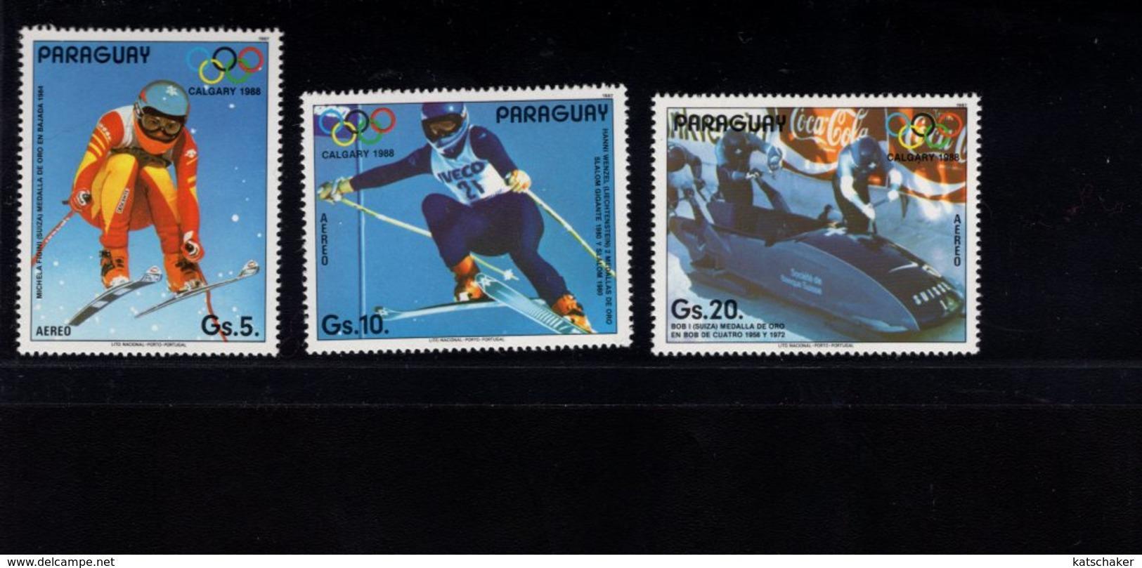 739754336  POSTFRIS MINT NEVER HINGED POSTFRISCH EINWANDFREI  SCOTT C679 680 681 1988 WINTER OLYMPICS CALGARY - Paraguay