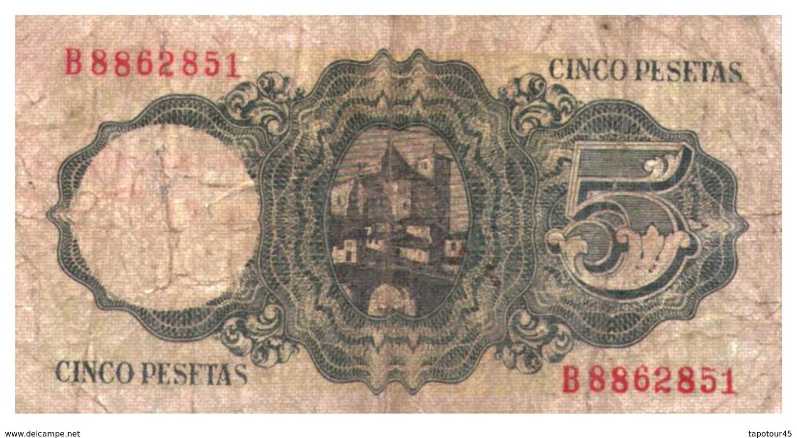 Billets > Espagne >  Régence De Franco > 5 Pesetas 1951 - [ 3] 1936-1975 : Régence De Franco