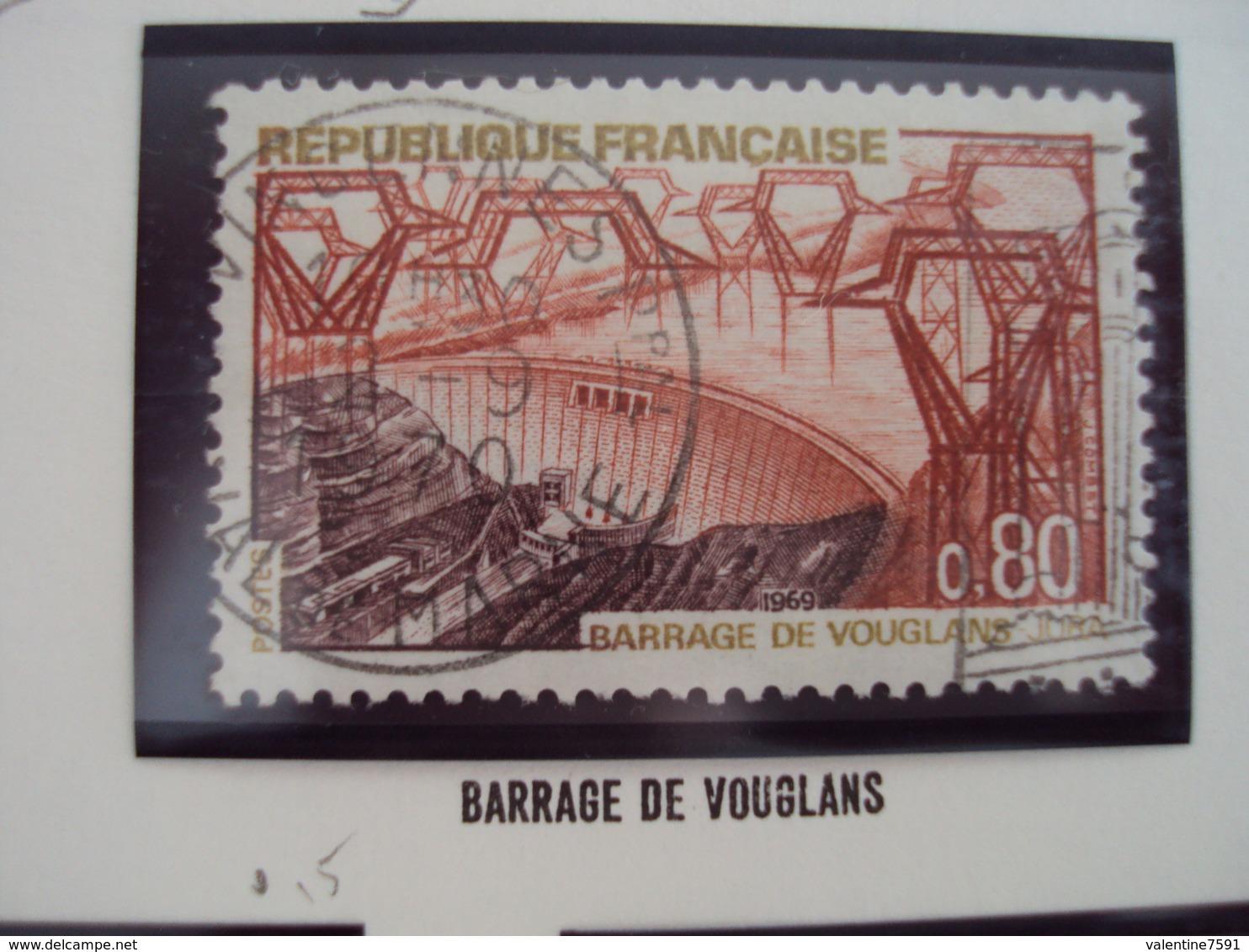 """60-69- Timbre Oblitéré N°1583     """" Barrage De Vouglans       """"    0.15 - France"""