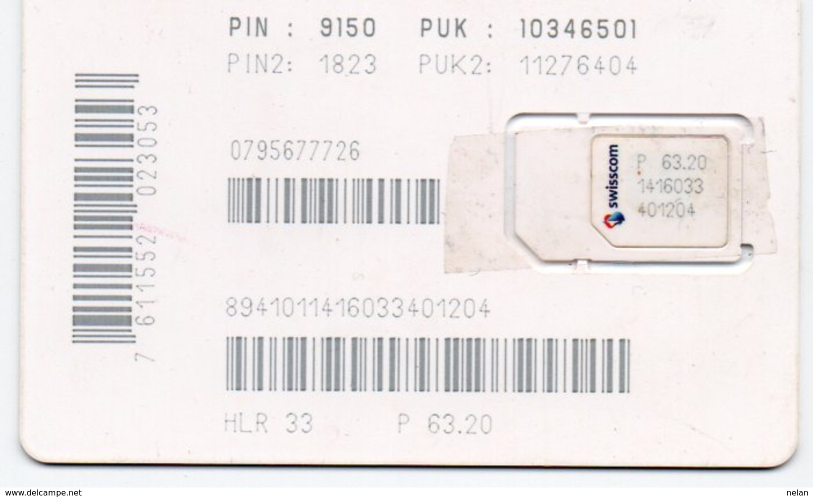 PHONE CARD-SWISSCOM-NATEL-SIM CARD - Svizzera