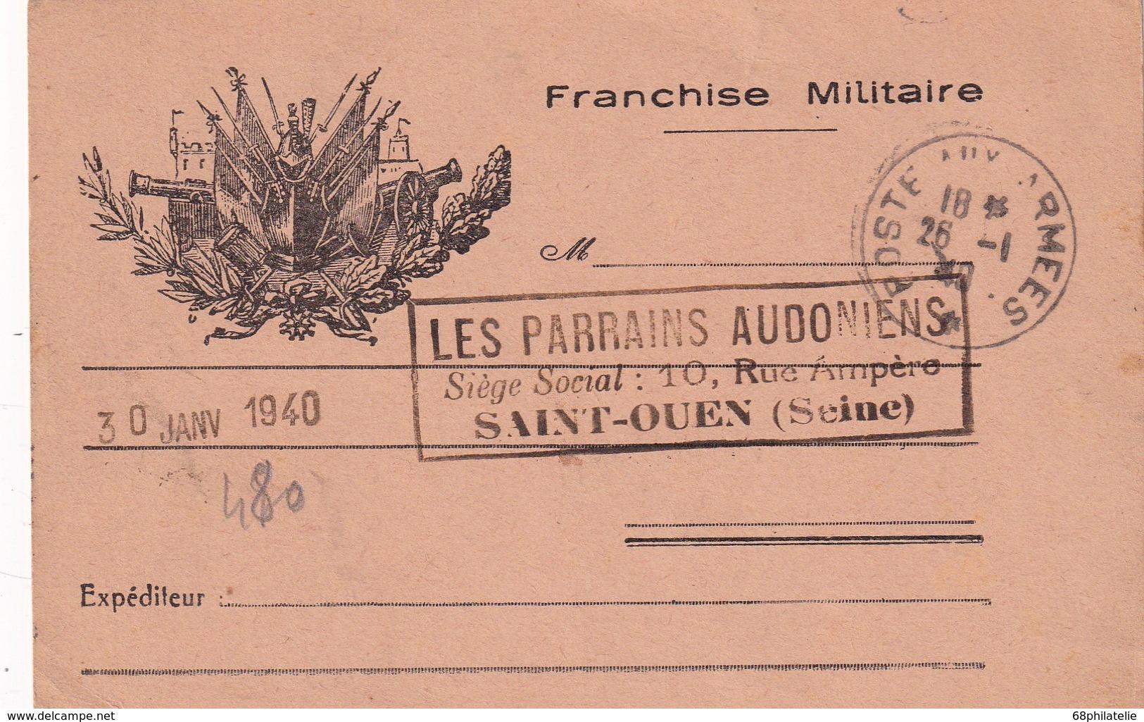 FRANCE 1940 CARTE DE FRANCHISE MILITAIRE - Marcofilia (sobres)