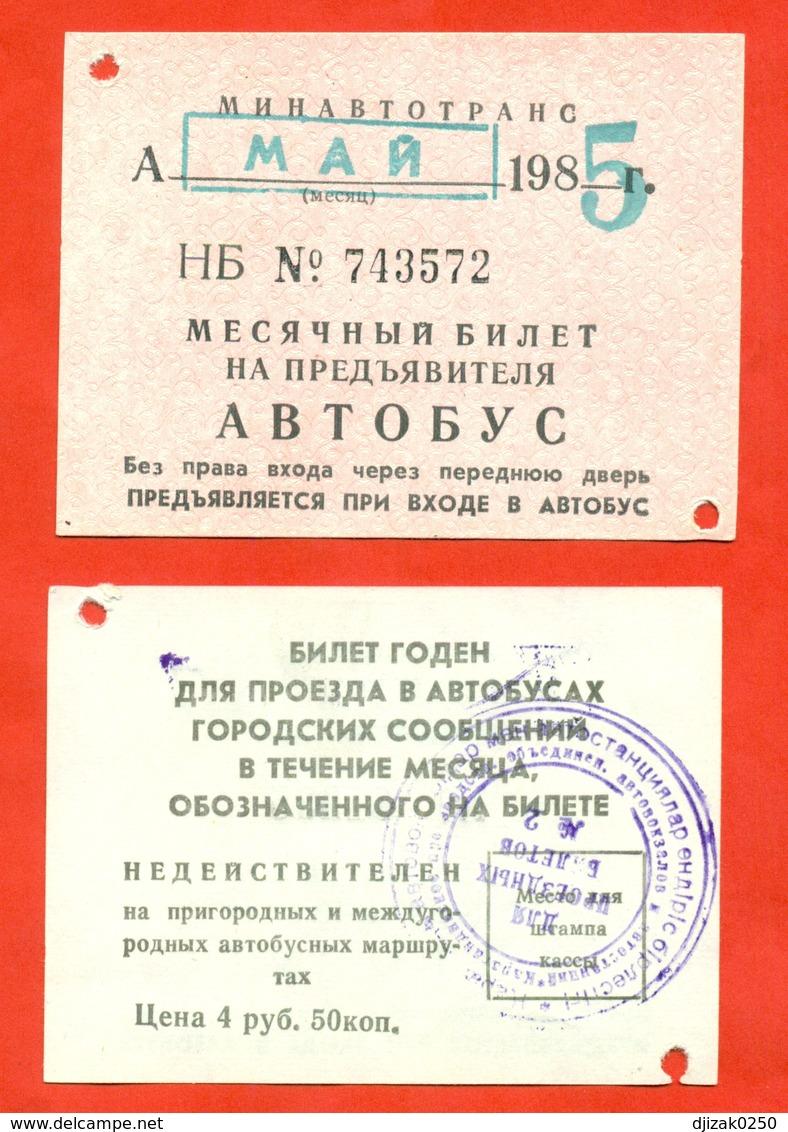 Kazakhstan (ex-USSR) 1985. City Karaganda. Monthly Bus Ticket. - Season Ticket