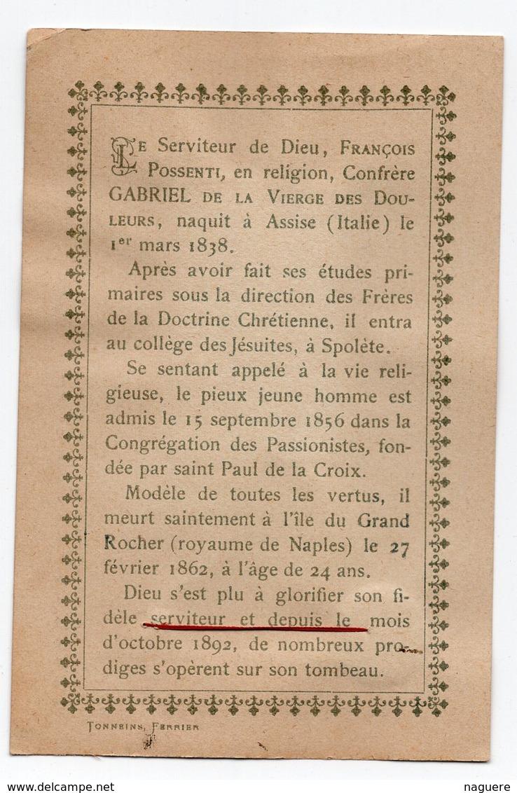 RELIQUE DU SERVITEUR DE DIEU CONFRERE GABRIEL DE LA VIERGE DES DOULEURS  PETITE PHOTO - Images Religieuses
