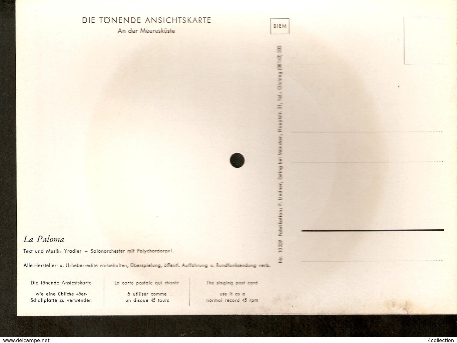 Old Musical 45rpm Record Singing Postcard A.d. Meereskuste La Paloma Yradier Salonorchester Mit Polychordorgel - Unclassified