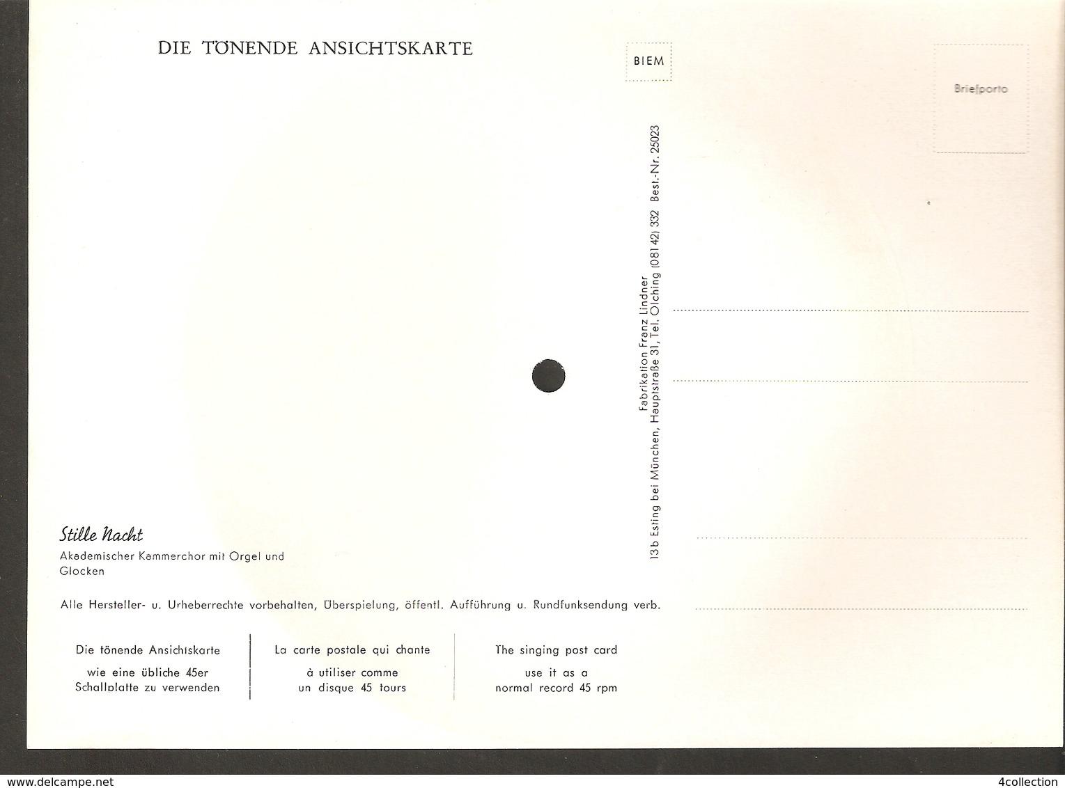 Old Musical 45rpm Record Postcard Schallbildkarte Christmas Stille Nacht Kammerchor Mit Orgel Und Glocken - Unclassified