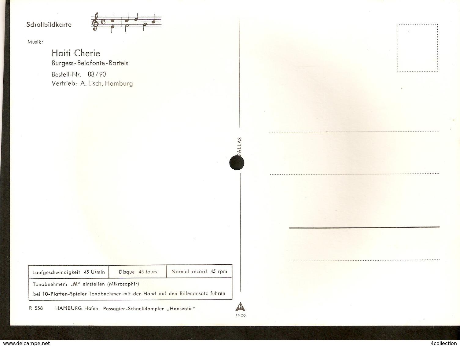 Old Musical 45rpm Record Postcard HAITI CHERIE Hamburg Hafen Hanseatic Schallbildkarte - Vinyl Records