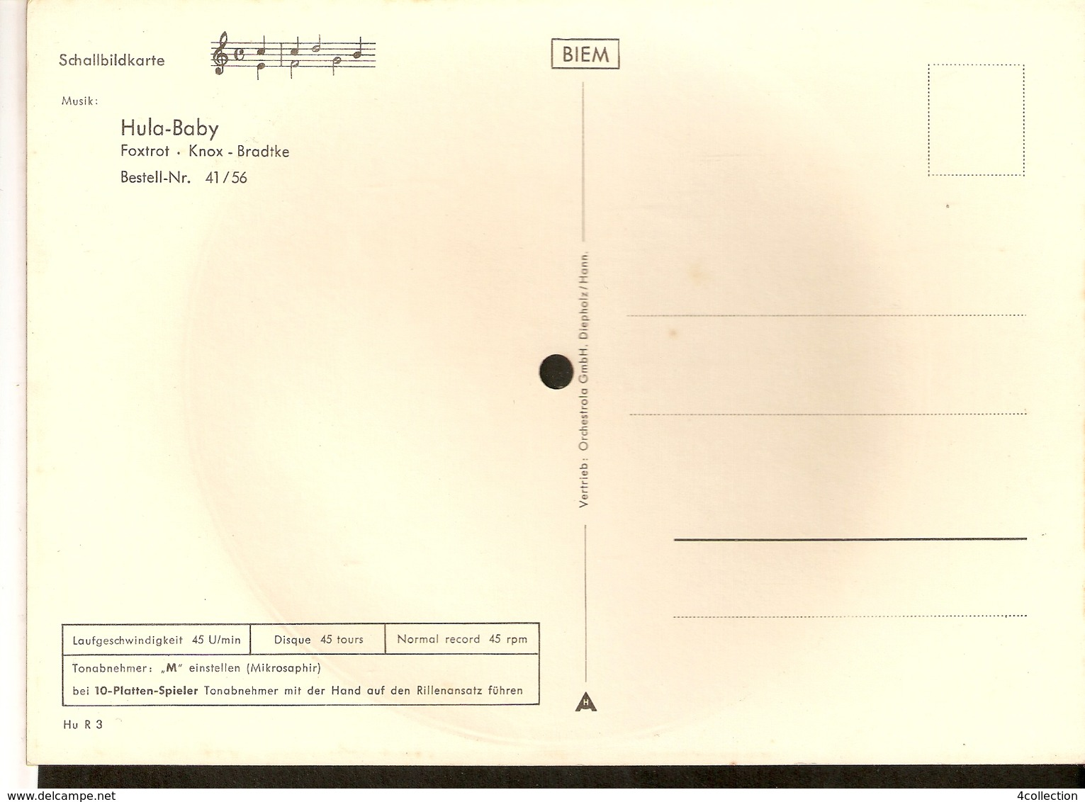 Old Musical 45rpm Record Postcard Hula-Baby Knox Bradtke Foxtrot Schallbildkarte Dog Poodle - Vinyl Records