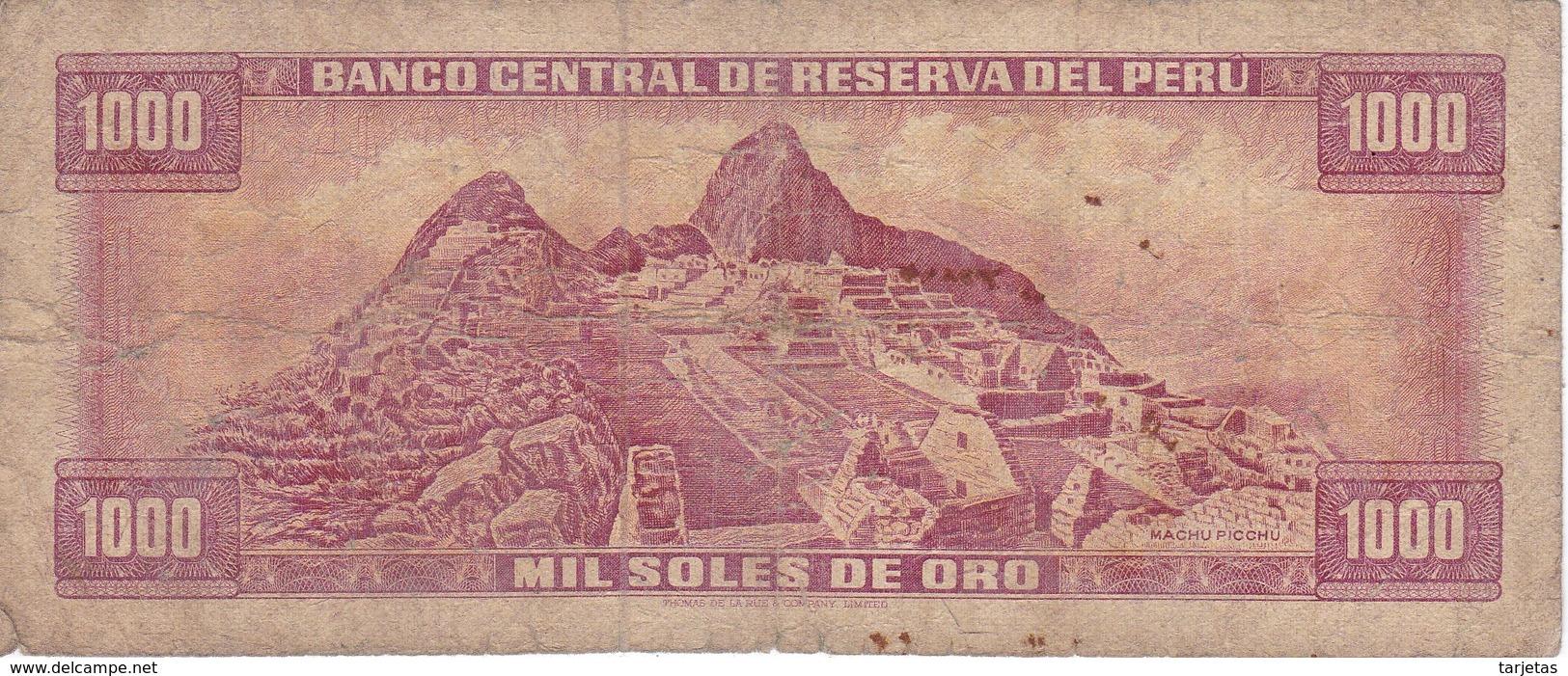 BILLETE DE PERU DE 1000 SOLES DE ORO DEL AÑO 1975 (BANKNOTE) - Perú