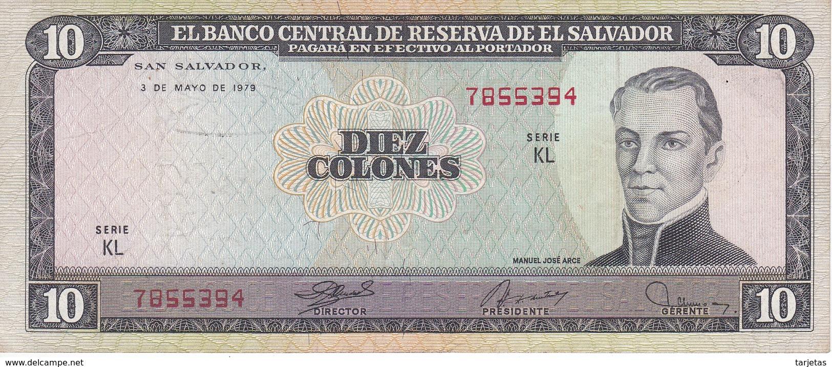 BILLETE DE EL SALVADOR DE 10 COLONES DEL AÑO 1979 DE CRISTOBAL COLON   (BANKNOTE) - El Salvador