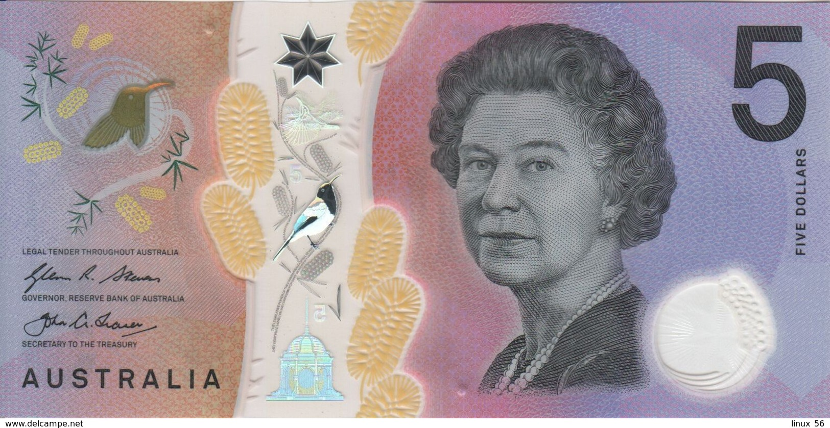 AUSTRALIA - 5 Dollars 2016 {Polymer} UNC P.62 - 2005-... (polymer Notes)