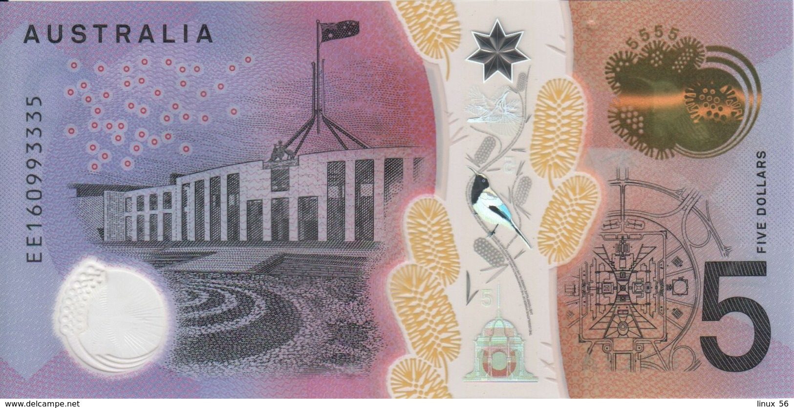 AUSTRALIA - 5 Dollars 2016 {Polymer} UNC P.62 - Decimal Government Issues 1966-...