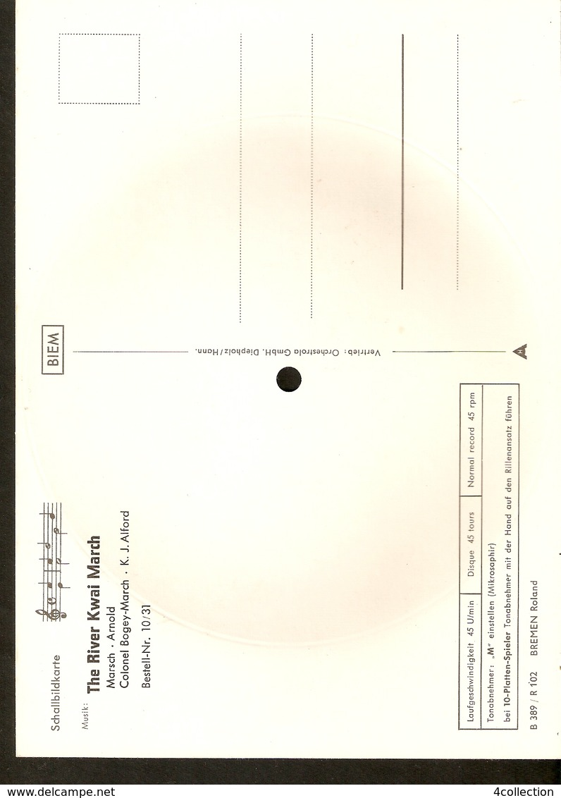 Old Musical 45rpm Record Postcard The River Kwai March Marsch Arnold Colonel Bogey March Schallbildkarte Bremen Roland - Unclassified
