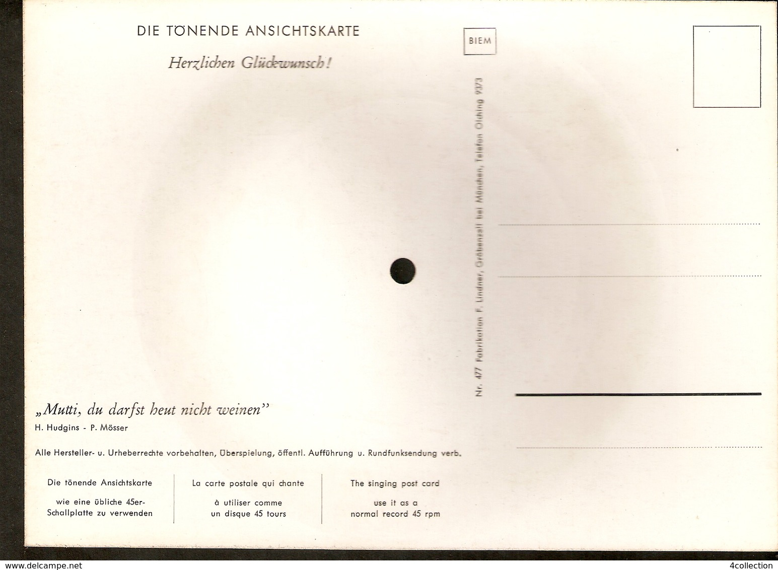 Old Musical 45rpm Record Postcard Herzlichen Gluckwunsch Hudgins Mosser Mutti Du Darfst Heut Nicht Weinen - Unclassified