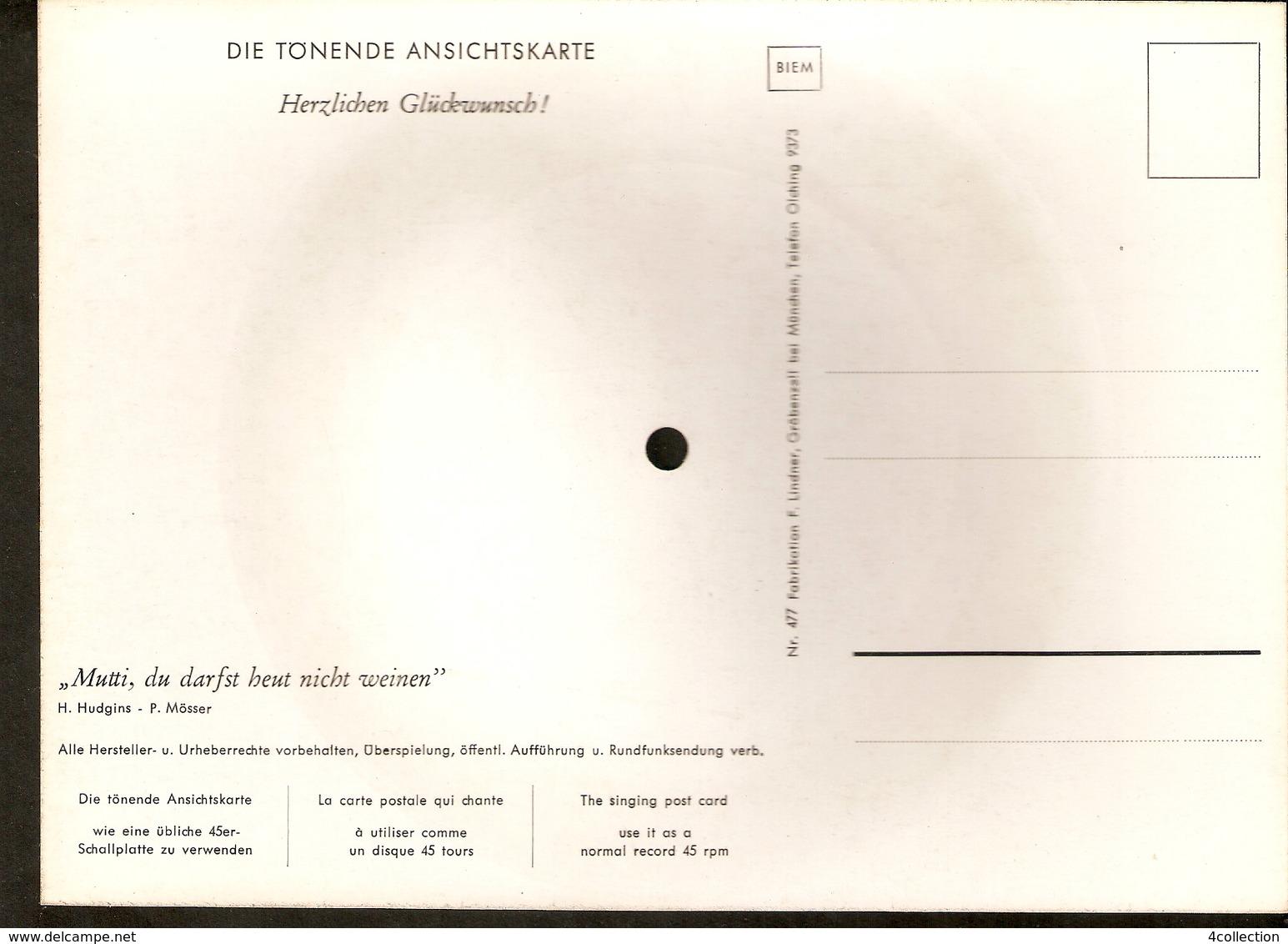 Old Musical 45rpm Record Postcard Herzlichen Gluckwunsch Hudgins Mosser Mutti Du Darfst Heut Nicht Weinen - Vinyl Records