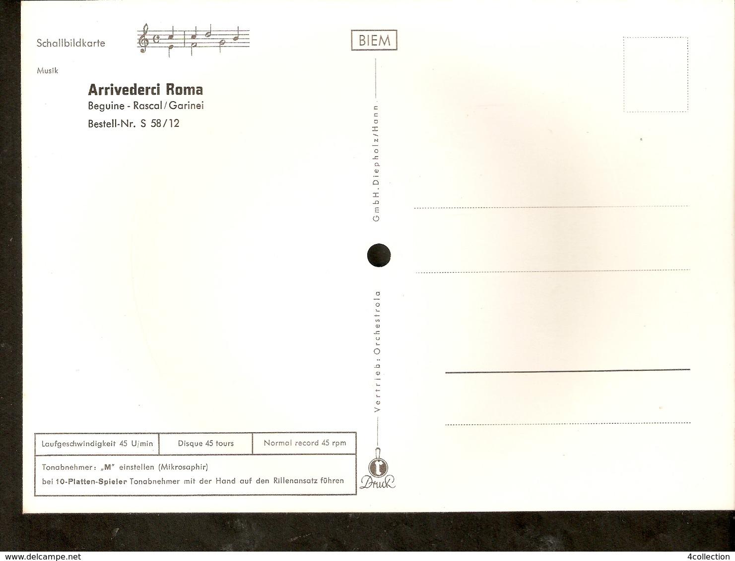 Old Musical 45rpm Record Vinyl Postcard Schallbildkarte Arrivederci Roma Beguine Rascal Garinei - Vinyl Records