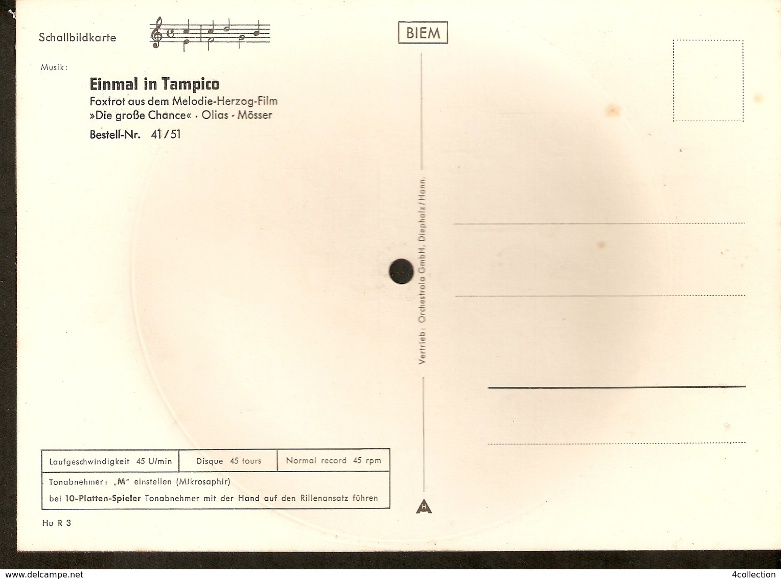 Old Musical 45rpm Record Postcard Einmal In Tampico Schallbildkarte Dog Poodle Melodie Herzog Film Die Grosse Chance Oli - Unclassified