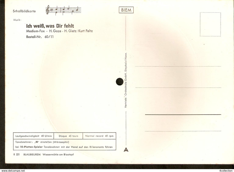Musical 45rpm Record Postcard Schallbildkarte Blaubeuren Wassermuhle Blautopf Ich Weiss Was Dir Fehlt Gaze Gietz Feltz - Unclassified