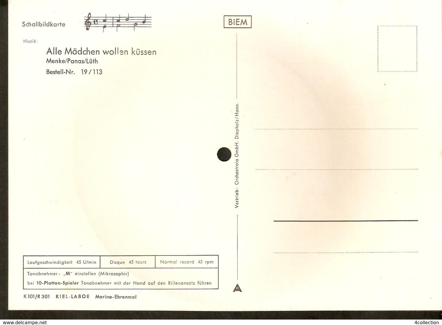Old Musical 45rpm Record Postcard Schallbildkarte KIEL Laboe Marine Ehrenmal All Madchen Wollen Kussen Menke Panas Luth - Unclassified