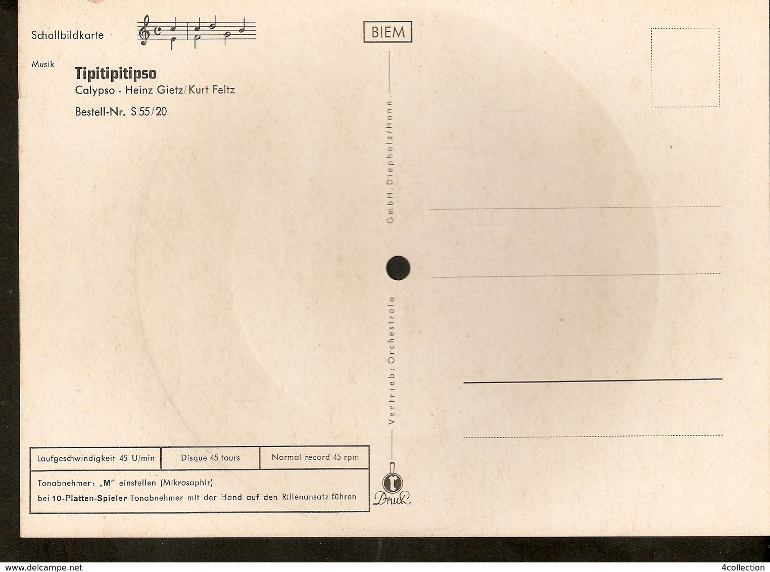 Old Musical 45rpm Record Postcard Schallbildkarte Tipitipitipso Calypso Heinz Gietz Kurt Feltz Lily Valle - Unclassified
