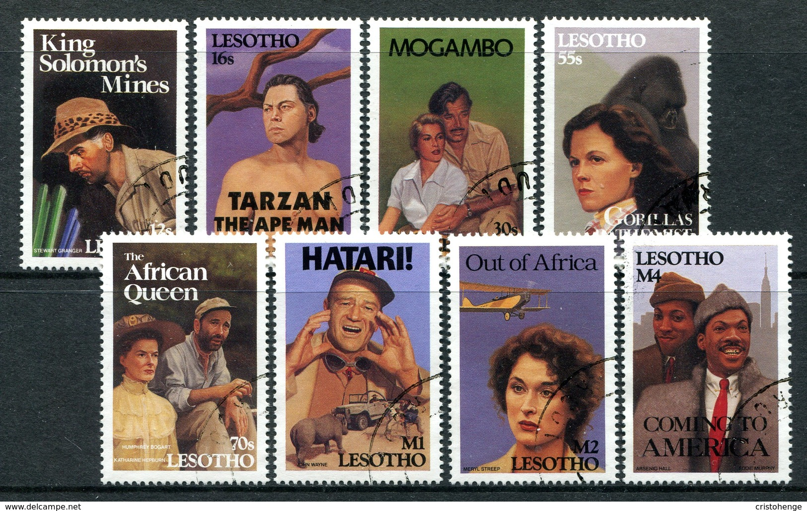Lesotho 1991 Famous Films With An African Theme Set Used (SG 1007-1014) - Lesotho (1966-...)